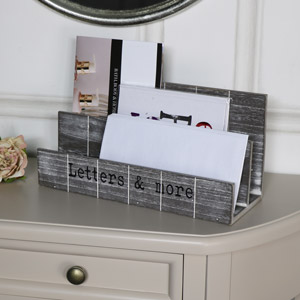 Grey Wooden Post / Letter Rack