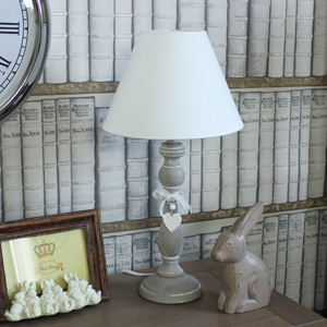 Grey Wooden Table Lamp