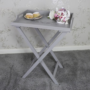 Grey Wooden Vintage Laurel Leaf Butler's Tray Table