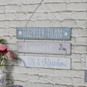 'Happier Than A Unicorn' Hanging Wall Plaque
