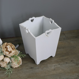 Heart Detail White Wooden Waste Paper Bin