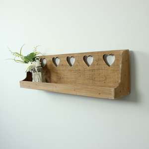 Hearts Wooden Wall Shelf