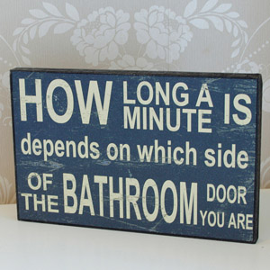 How Long Wooden Bathroom Plaque