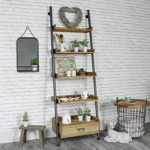Industrial Ladder Style 5 Shelf Display Unit with 1 Drawer Storage
