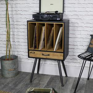 Industrial Retro Style Vinyl Record Storage Cabinet