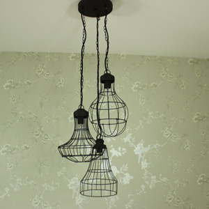 Industrial Wire Triple Pendant Ceiling Light Fixture