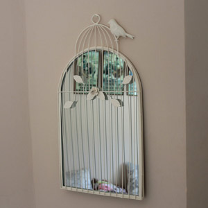 Ornate Ivory Metal Birdcage Mirror