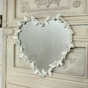 Ivory Metal Floral Heart Mirror