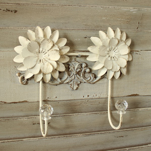 Ivory Metal Flower Double Wall Hook