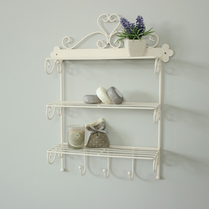 Ivory Wire Wall Shelves with Hooks