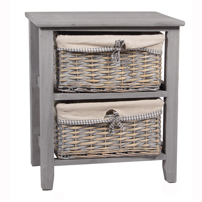 Joli Panier - 2 Drawer Linen Lined Wicker Unit