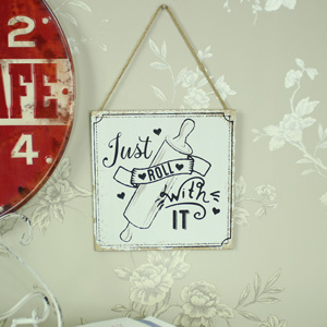 'Just Roll With It' Hanging Wall Plaque