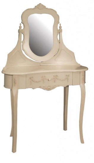Kensington Range - Cream Kidney Dressing Table And Hinged Mirror