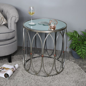 Large Antique Silver Mirrored Side Table with Copper Stud