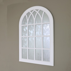 Large Antique White Arched Window Mirror 66cm x 95cm