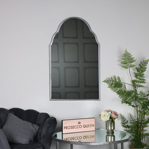 Large Arched Silver Wall Mirror