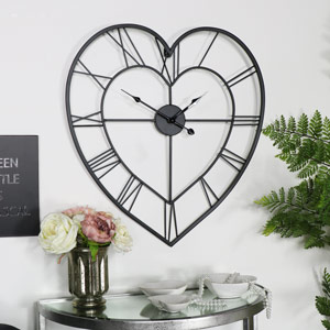 Large Black Heart Skeleton Wall Clock