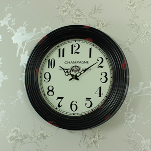 Large Black Metal Framed Wall Clock