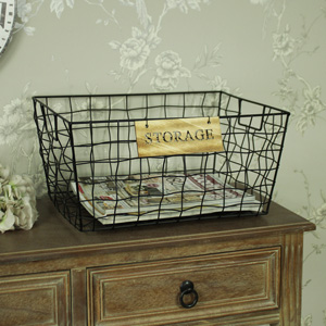 Large Black Metal Wire Storage Basket
