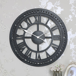 Large Black Roman Numeral Skeleton Wall Clock