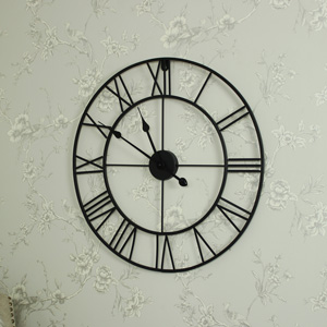Large Black Skeleton Wall Clock