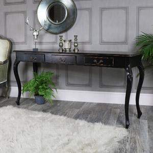 Large Black Vintage 3 Drawer Console Hall Table - Pierre Range