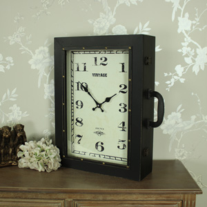 Large Brown Suitcase Style Wall Clock Cabinet