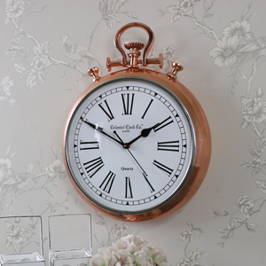 Large Copper Fob Stop Watch Style Wall Clock