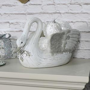 Large Cream Christmas Swan Bowl