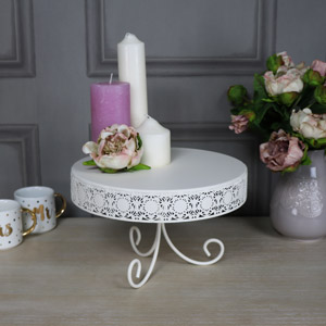 Large Cream Metal Cake Display Stand