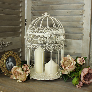 Large Cream Metal Rose Bird Cage Candle Holder