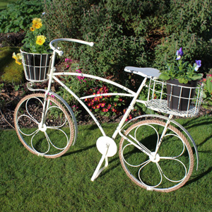 Cream Metal Ornamental Bicycle Plant Pot Planter
