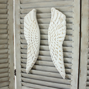 Large Cream Wooden Angel Wings