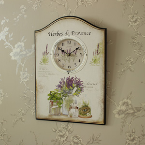 Large Cream Wooden Plaque Style Wall Clock