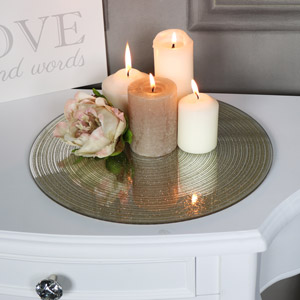 Large Gold Glitter Glass Mirrored Candle Display Plate