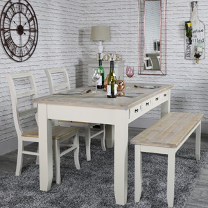 Large Dining Table with Bench and 2 Chairs - Cotswold Range