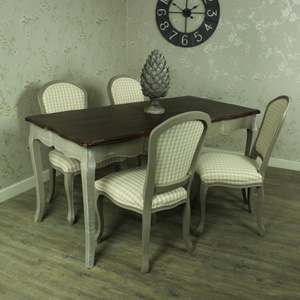 Large Grey Dining Table with 4 Padded Dining Chairs - French Grey Range