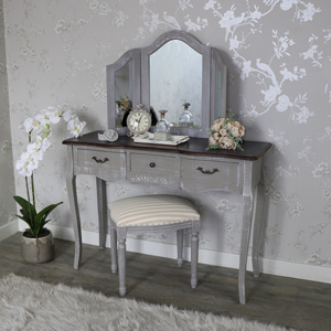 Large Grey Dressing Table, Triple Mirror and Padded Stool - French Grey Range