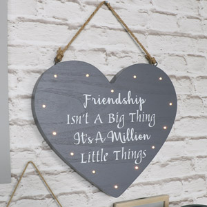 Large Grey LED Friendship Heart Wall Plaque