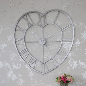 Large Grey Metal Heart Shape Skeleton Wall Clock