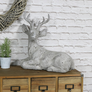 Large Grey Stone Stag Ornament