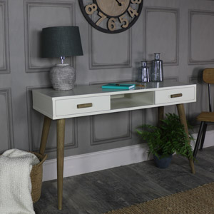 Large Ivory 2 Drawer Console Table - Stockholm Range