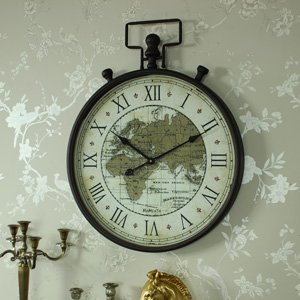 Large Metal Antique Style Atlas Wall Clock