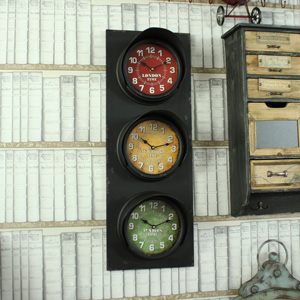 Large Metal Traffic Light 'Time Zone' Wall Clock