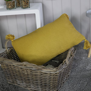 Large Mustard Yellow Knitted Scatter Cushion
