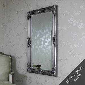 Large Ornate Antique Silver Wall/Floor Mirror 70cm x 130cm