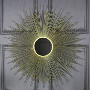 Large Ornate Gold Sunburst Wall Mirror 82cm x 82cm