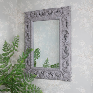 Large Ornate Rustic Grey Wall Mirror 66cm x 86cm