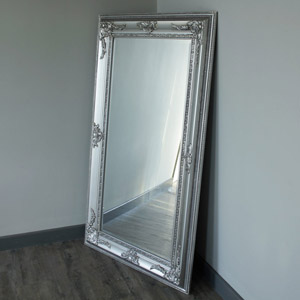 Large Ornate Silver Bevelled Wall/Floor Mirror