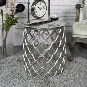 Large Ornate Silver Metal Side Table